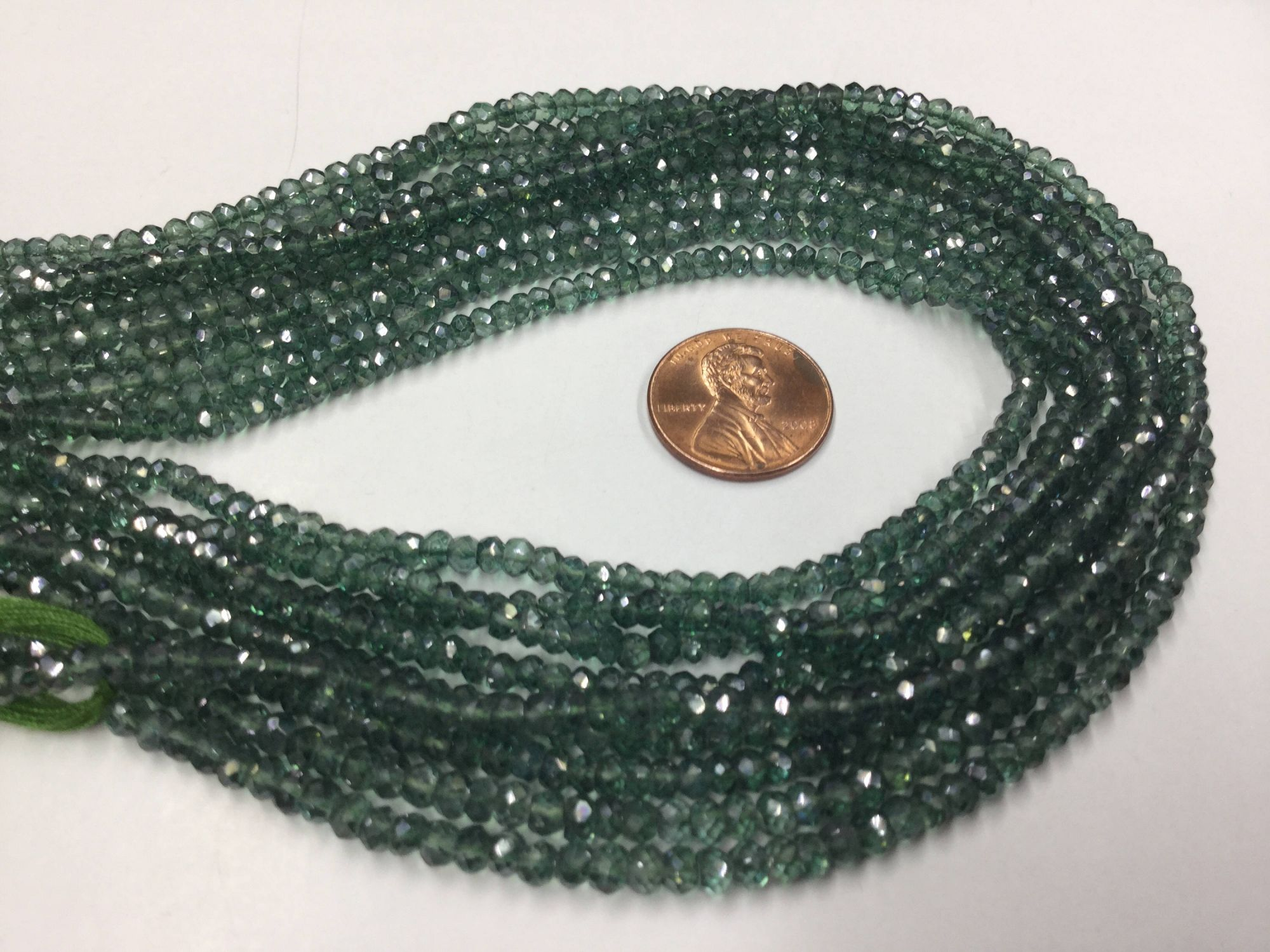 Green Mystic Quartz Rondelles Faceted