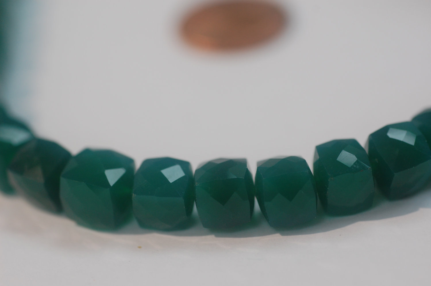 Green Onyx  Cubes Faceted