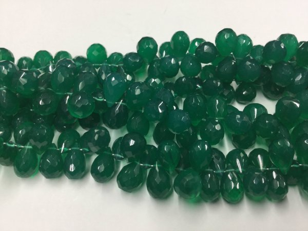 Green Onyx Drops Faceted