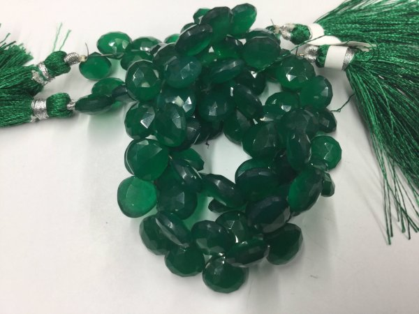 Green Onyx Hearts Faceted