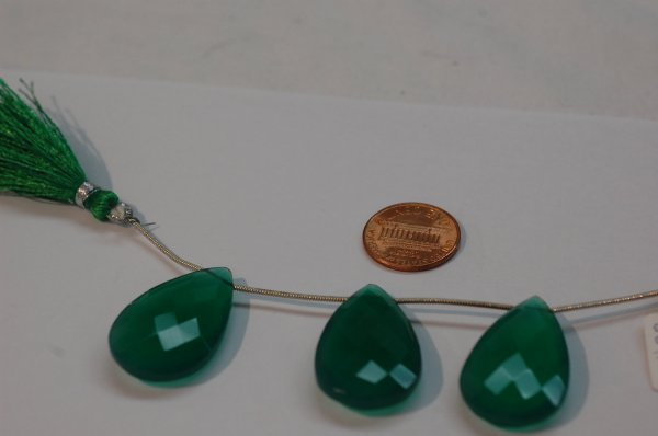 Green Onyx Pear Faceted