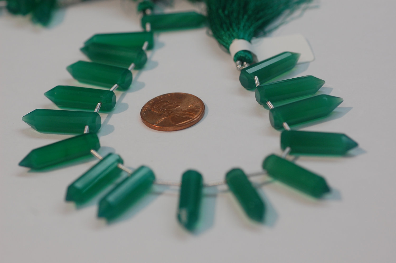 Green Onyx Pencil Cut Faceted