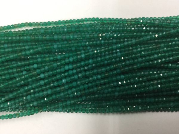 Green Onyx Rondelles Faceted