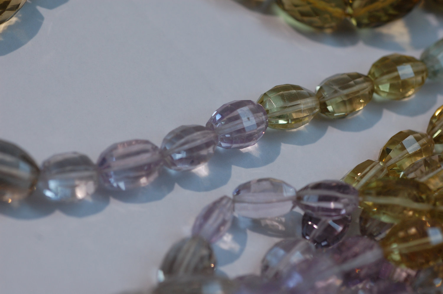 Green, Pink Amethyst, Beer whiskey Quartz - Rounded Oval step cut