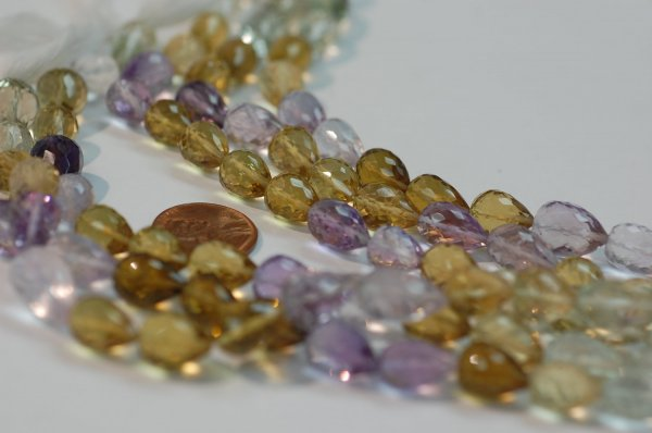 Green, Pink Amethyst, Beer whiskey Quartz - Straight Drill Drops