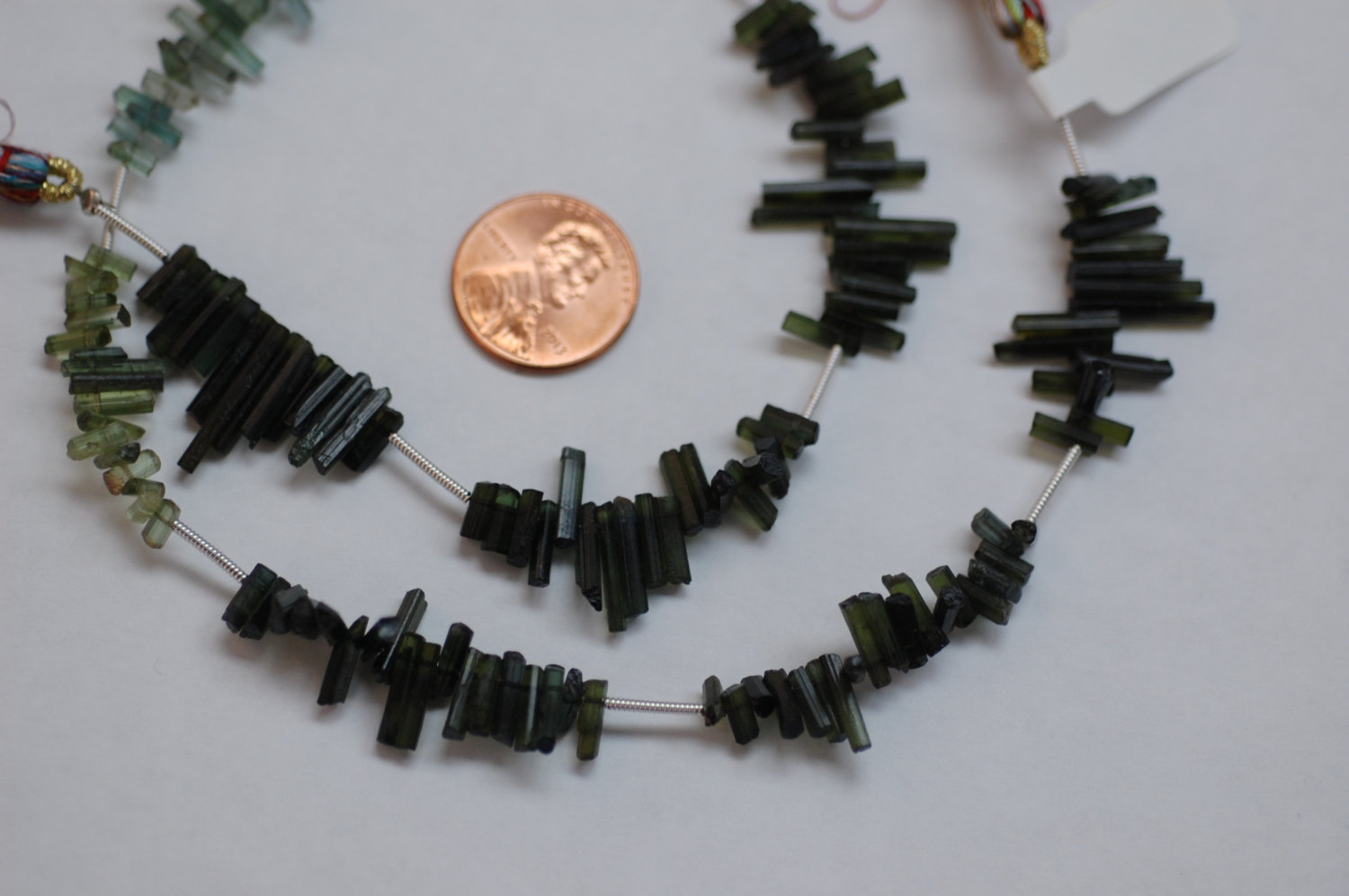 Green Tourmaline Thin Tubes Faceted
