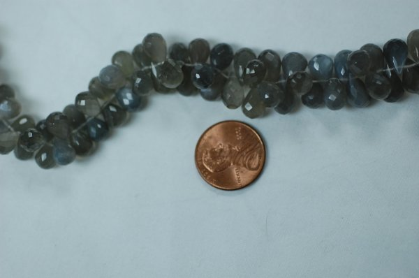 Grey Moonstone Drops Faceted