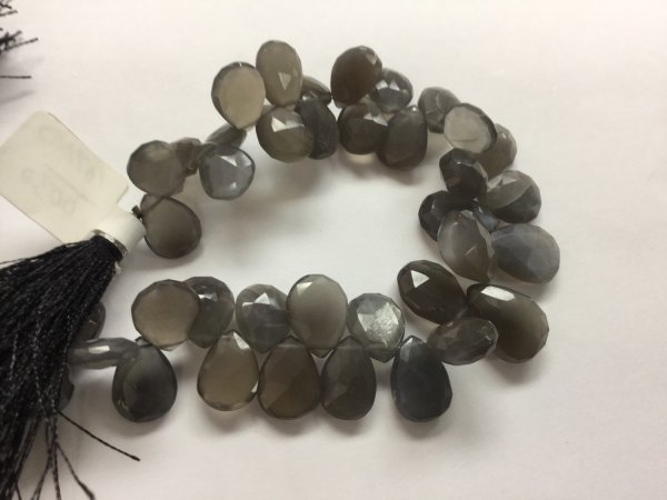 Grey Moonstone Pears Faceted