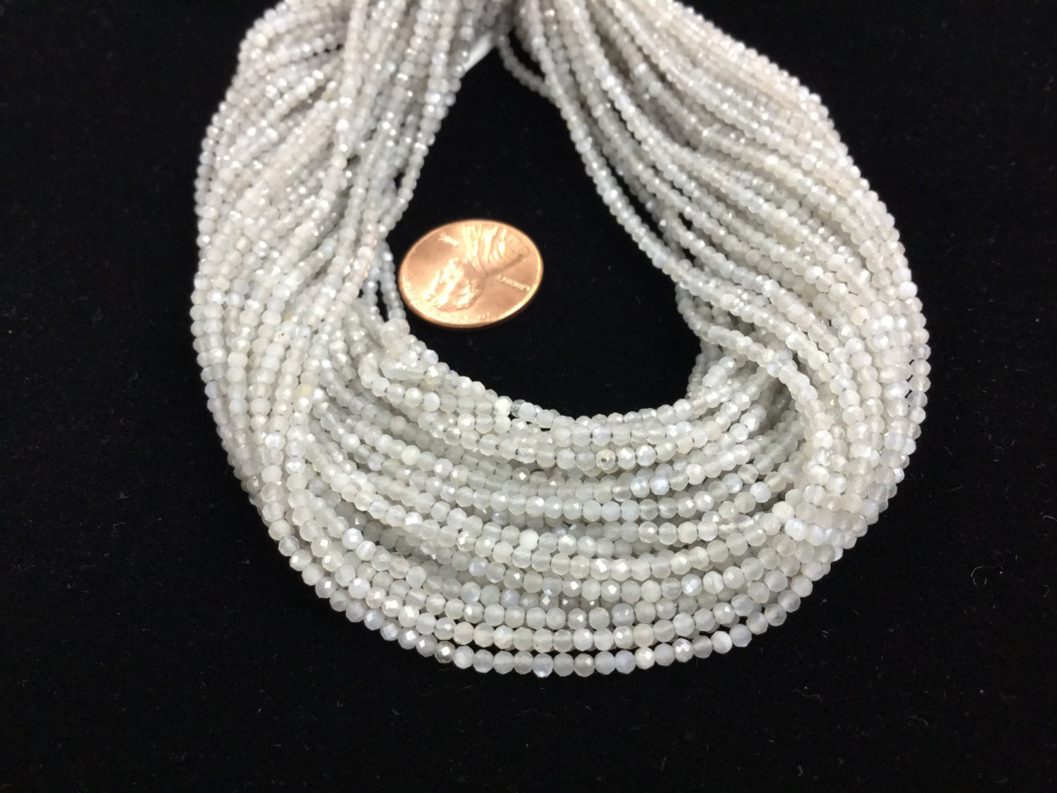Grey Moonstone Rondelles Faceted