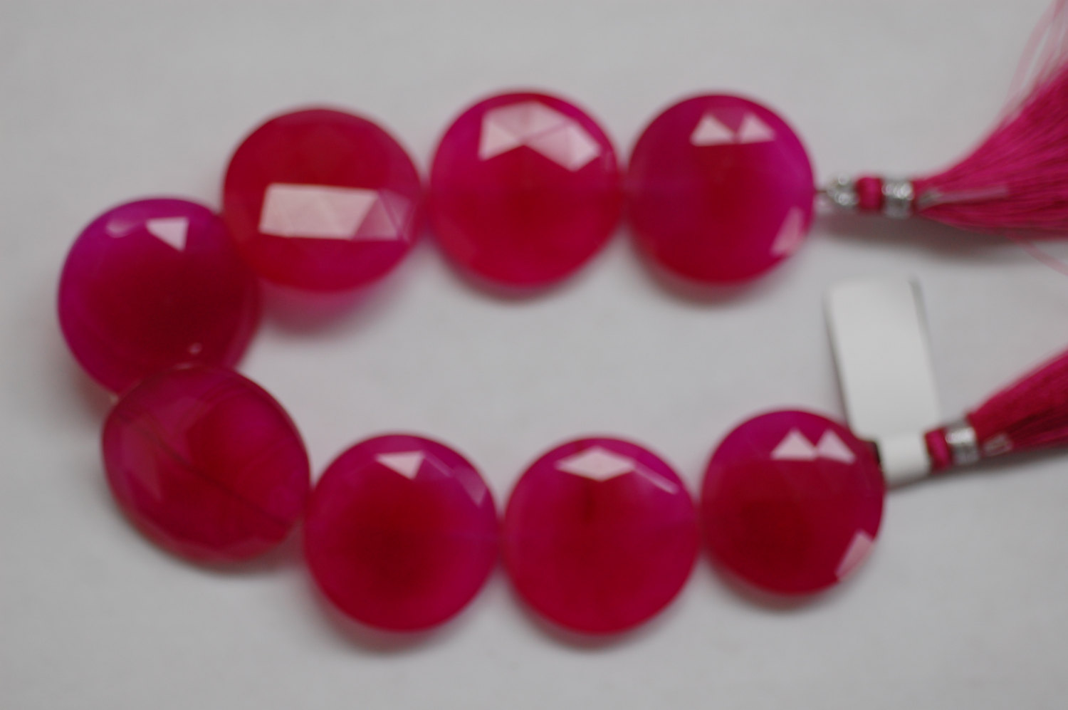 Hot Pink Chalcedony Coins one side Faceted/one side Smooth