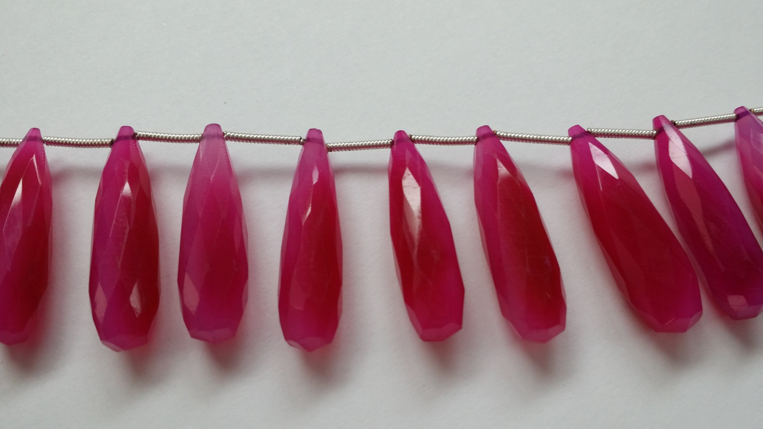 Hot Pink Chalcedony Long Drops Faceted