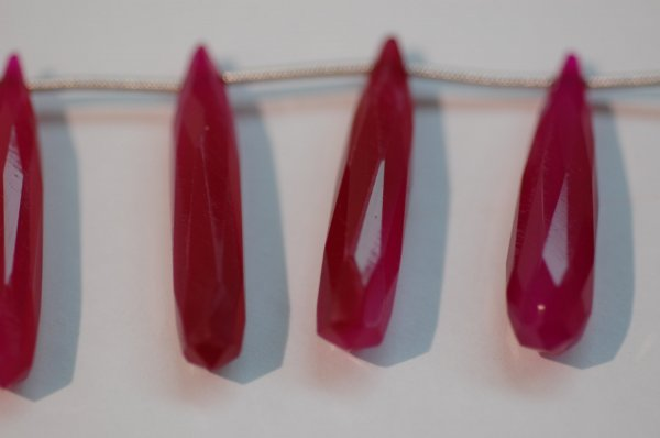 Hot Pink Chalcedony Longs Drops Faceted
