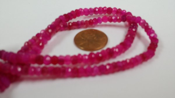 Hot Pink Chalcedony Rondelles Faceted