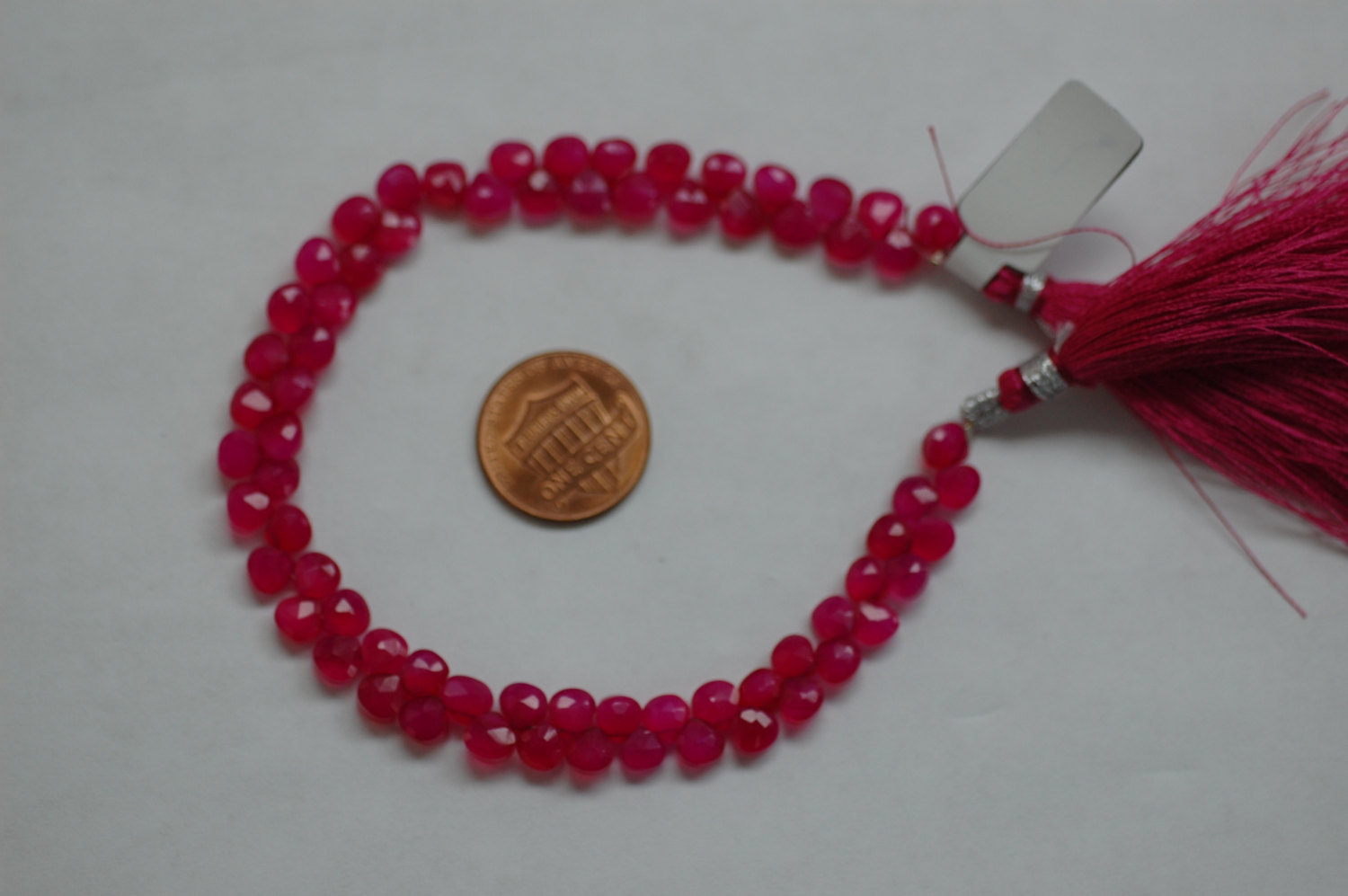 Hot Pink Chalcedony Tiny Hearts Faceted