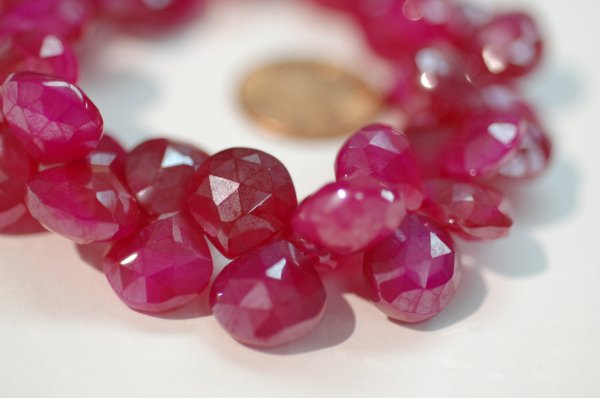 Hot Pink Pearl Chalcedony Heart Faceted