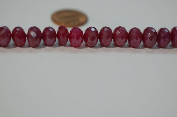 Hot Pink Pearl Chalcedony Rondelle Faceted