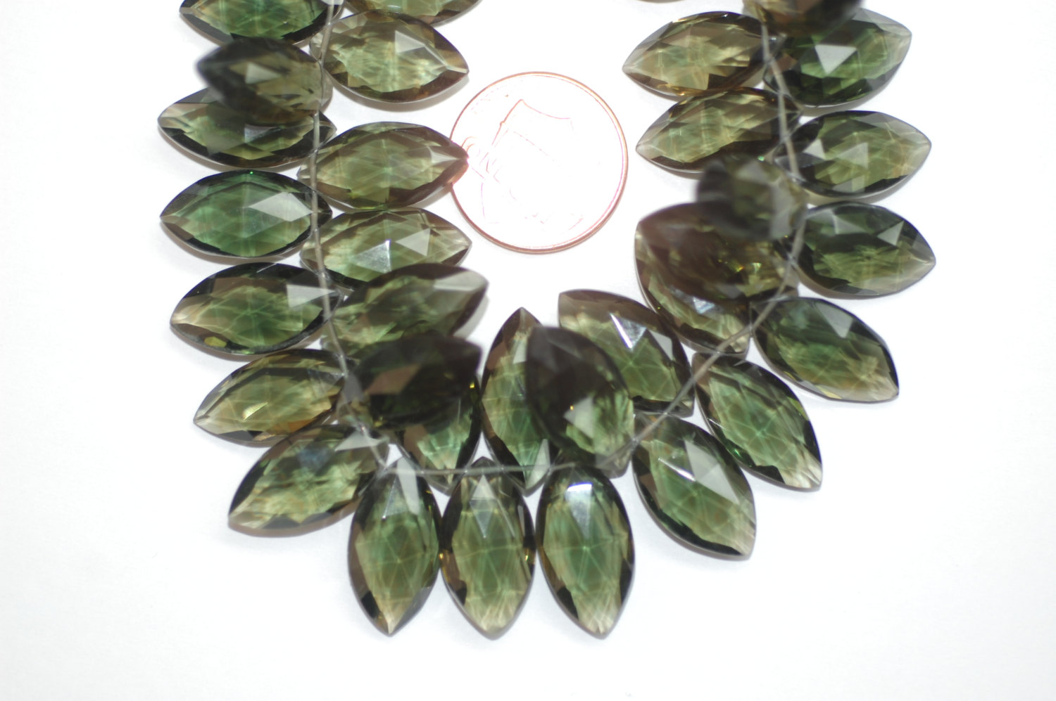 Hydro Olive Green Quartz Marquise Faceted