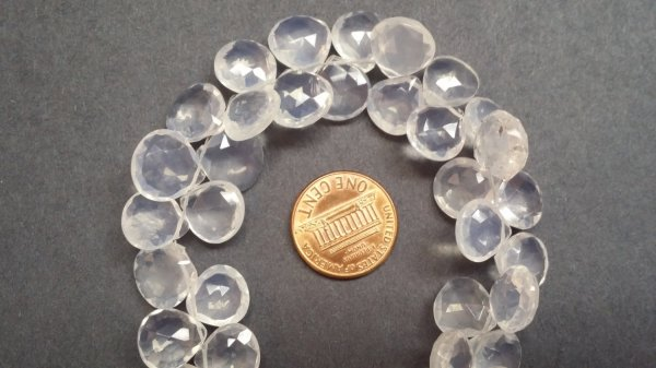 Ice Quartz Hearts Faceted