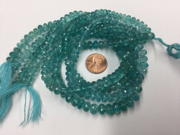 Sea-Green Apatite Rondelles Faceted