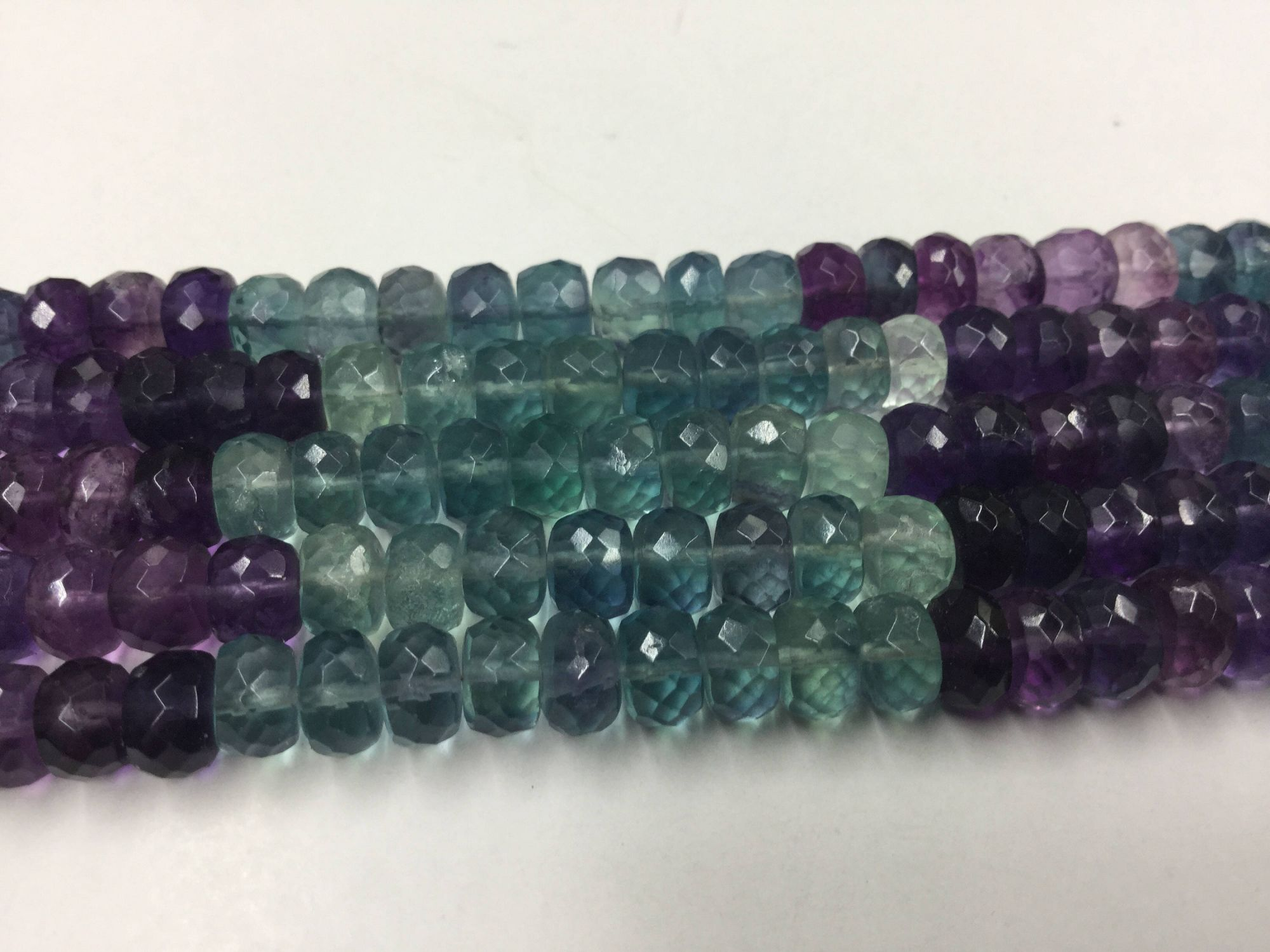 Shaded Fluorite Rondelles Faceted