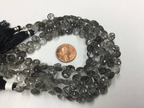 Black Rutilated Quartz Hearts Faceted