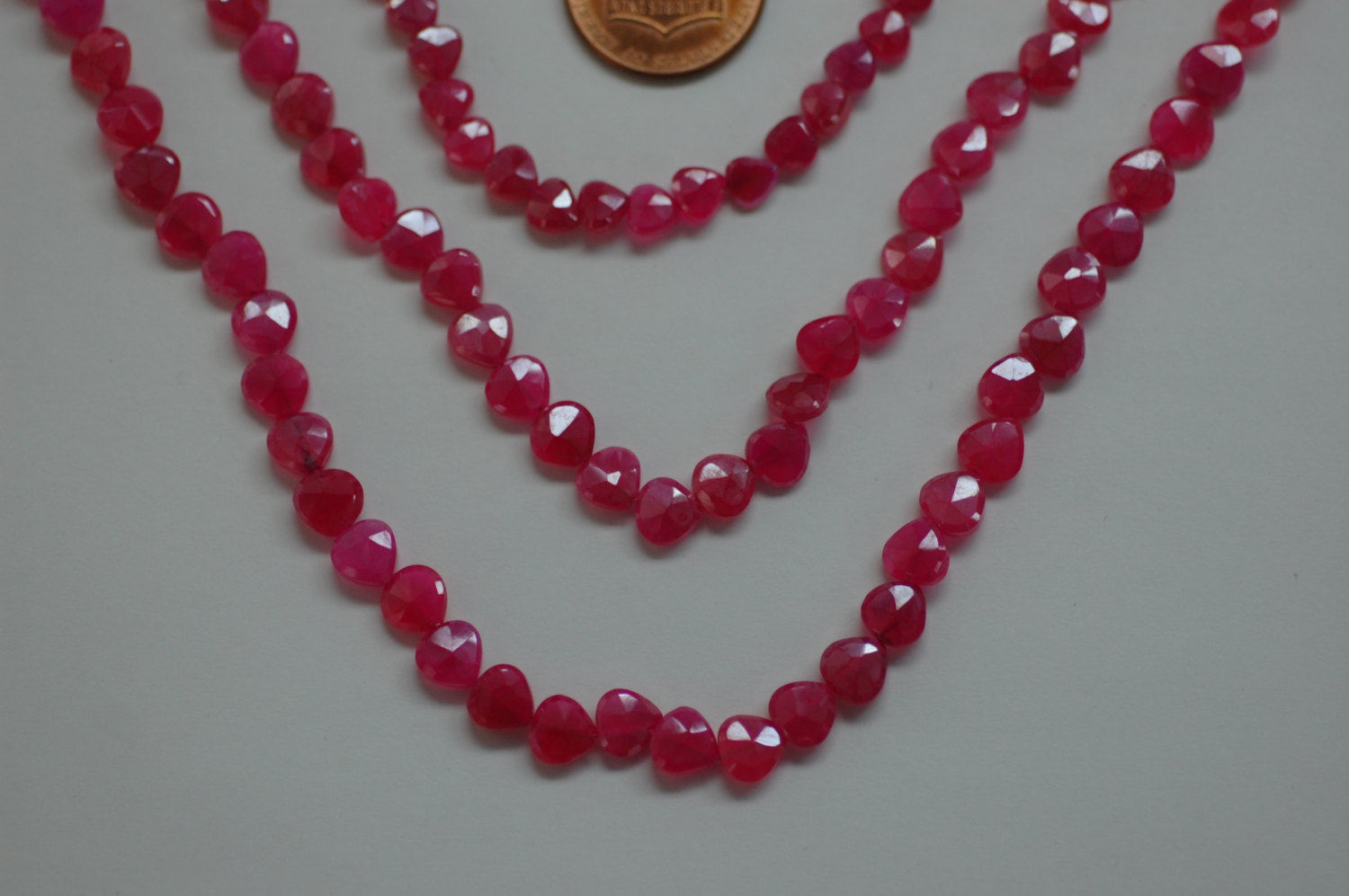 Dark Pink Chalcedony Hearts Faceted