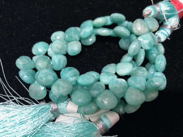 Amazonite Hearts Faceted