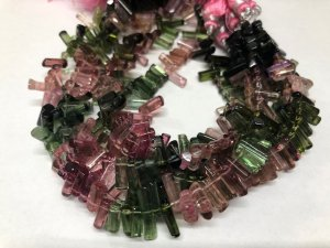 Watermelon Tourmaline Tubes Smooth