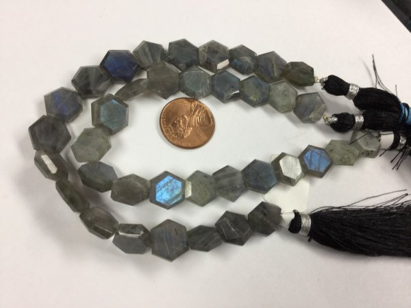 Labradorite Center Drilled Hexagon Faceted
