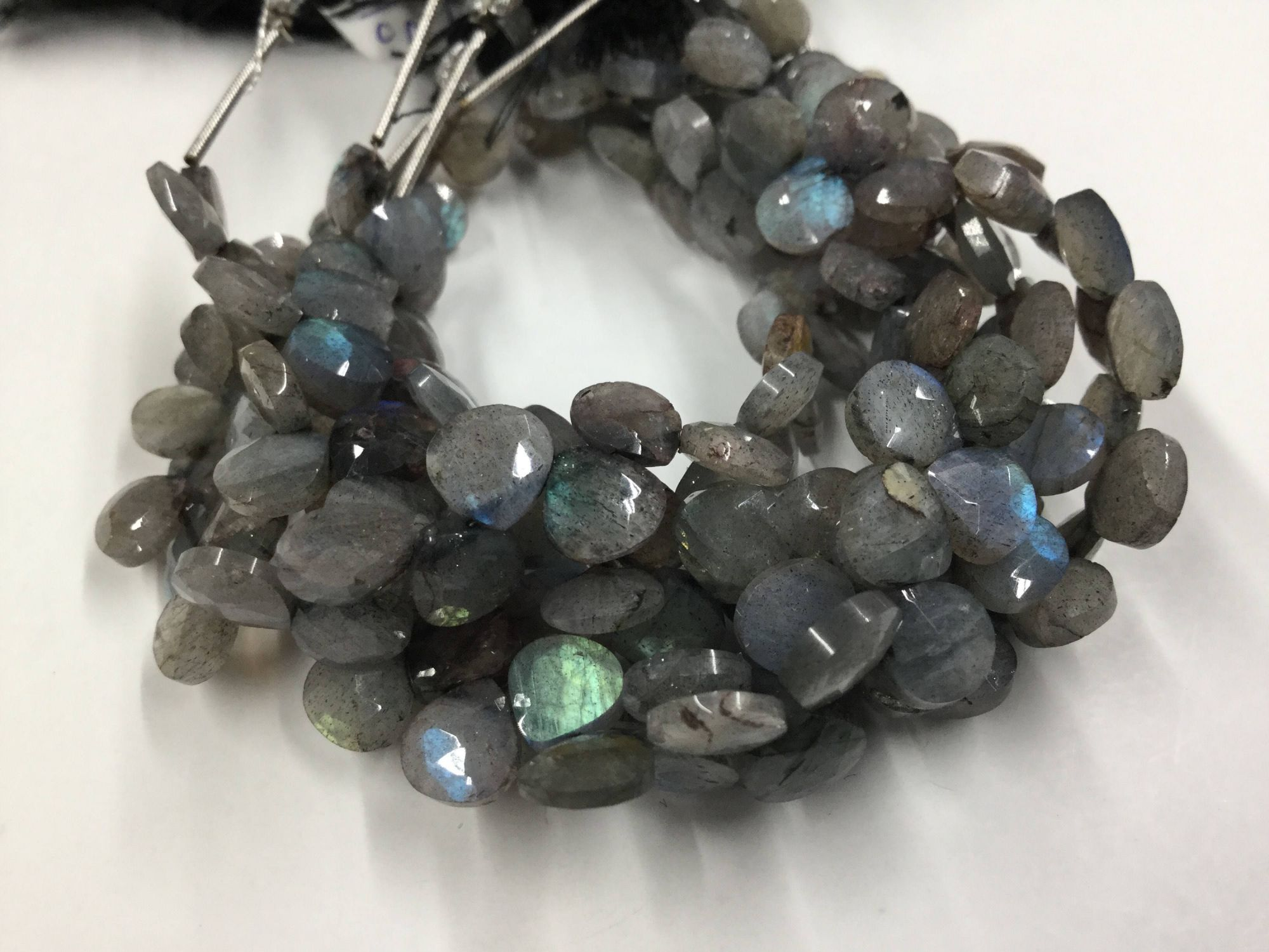 Labradorite Hearts Faceted