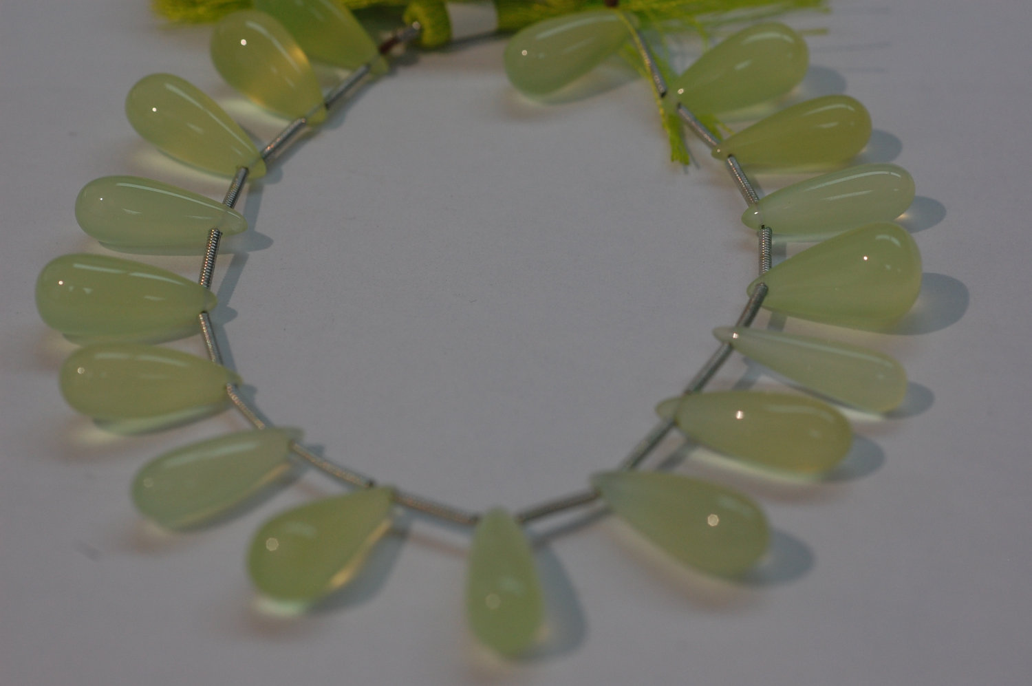 Light Green Chalcedony Long Drops Smooth