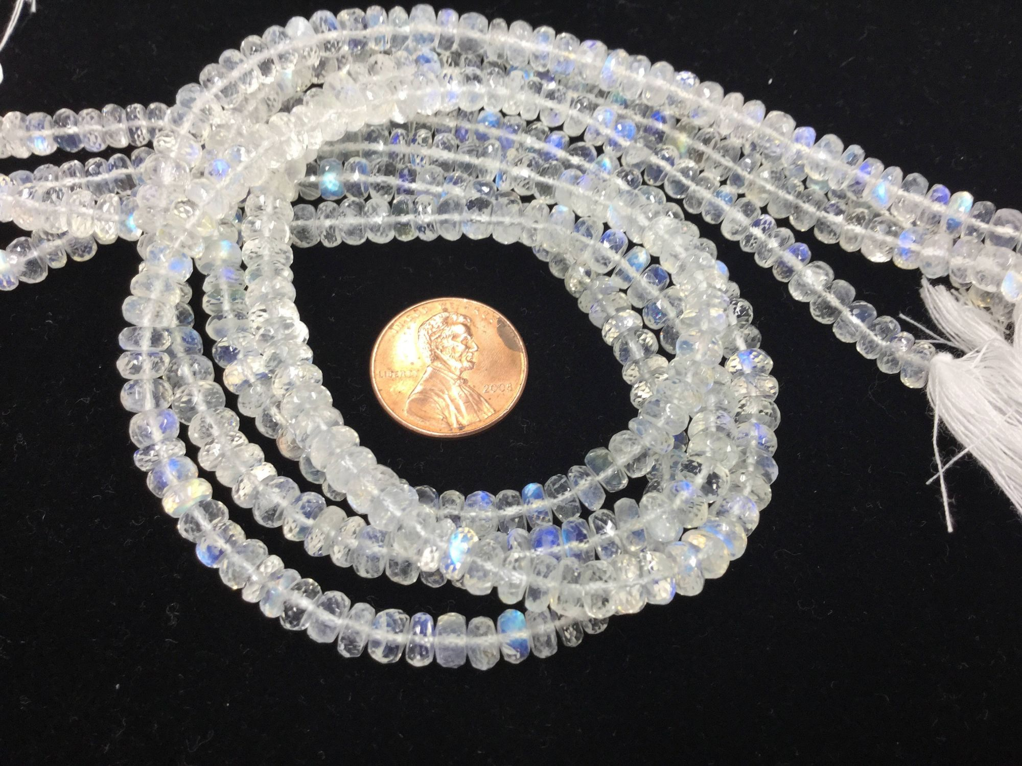 Moonstone Rondelles Faceted
