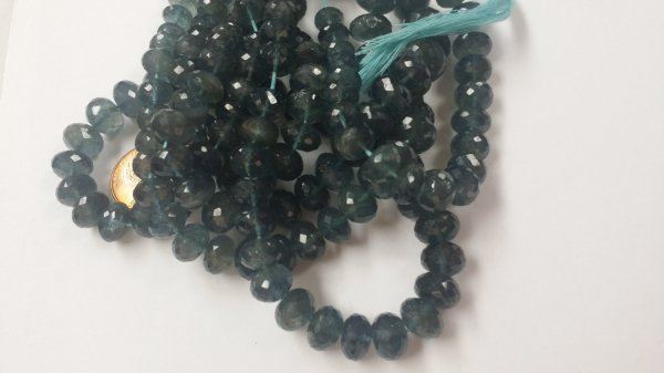Moss Aquamarine Rondelle Faceted (Dark)