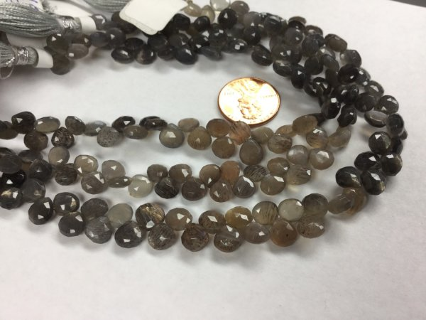 Moss Light Grey/Brown Moonstone Hearts Faceted