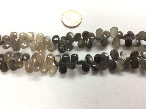 Moss Light Grey/Brown Moonstone Pears Faceted