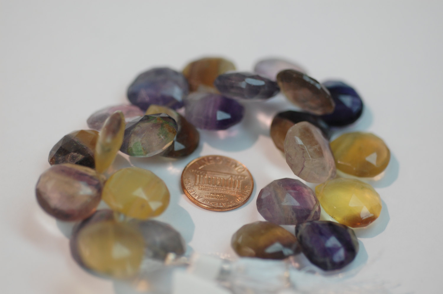 Multi Color Fluorite Heart Faceted