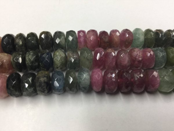 Multi Color Tourmaline Rondelles Faceted