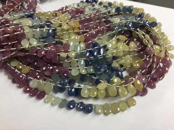 Multi Sapphire Pears Faceted