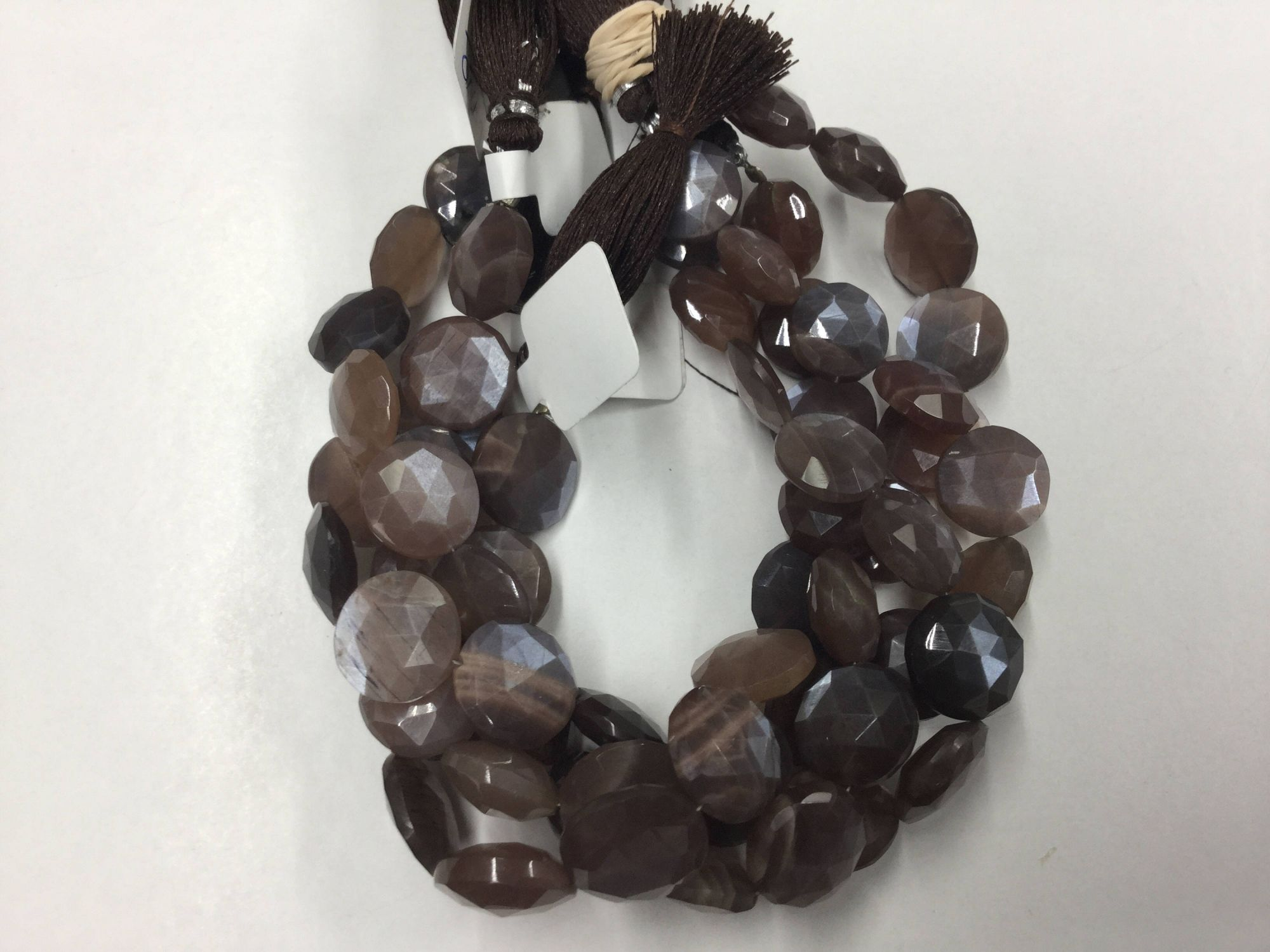 Mystic Chocolate Moonstone Coins Faceted
