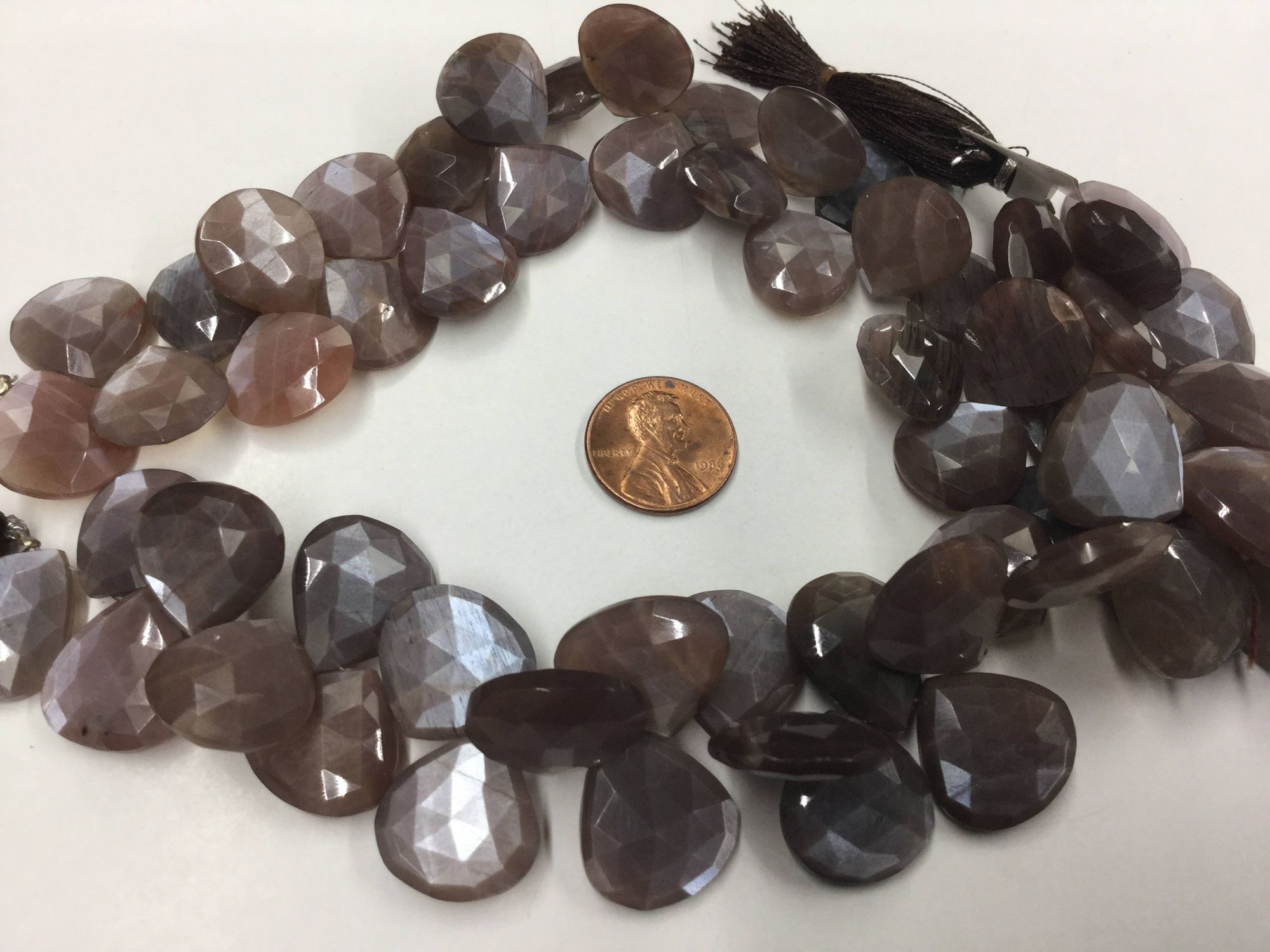 Mystic Chocolate Moonstone Hearts Faceted