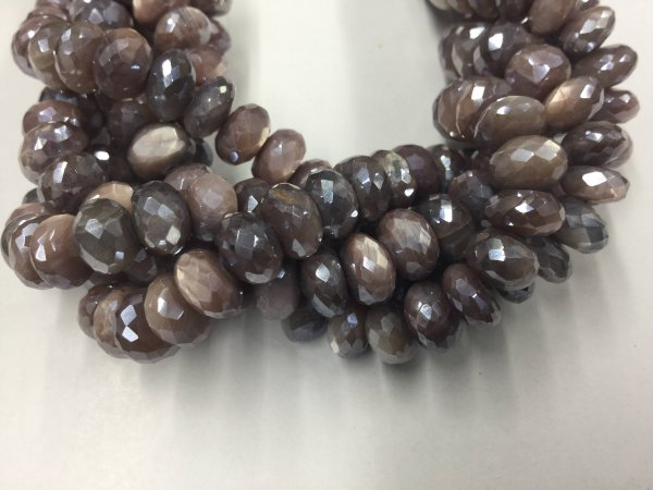 Mystic Chocolate Moonstone Rondelles Faceted