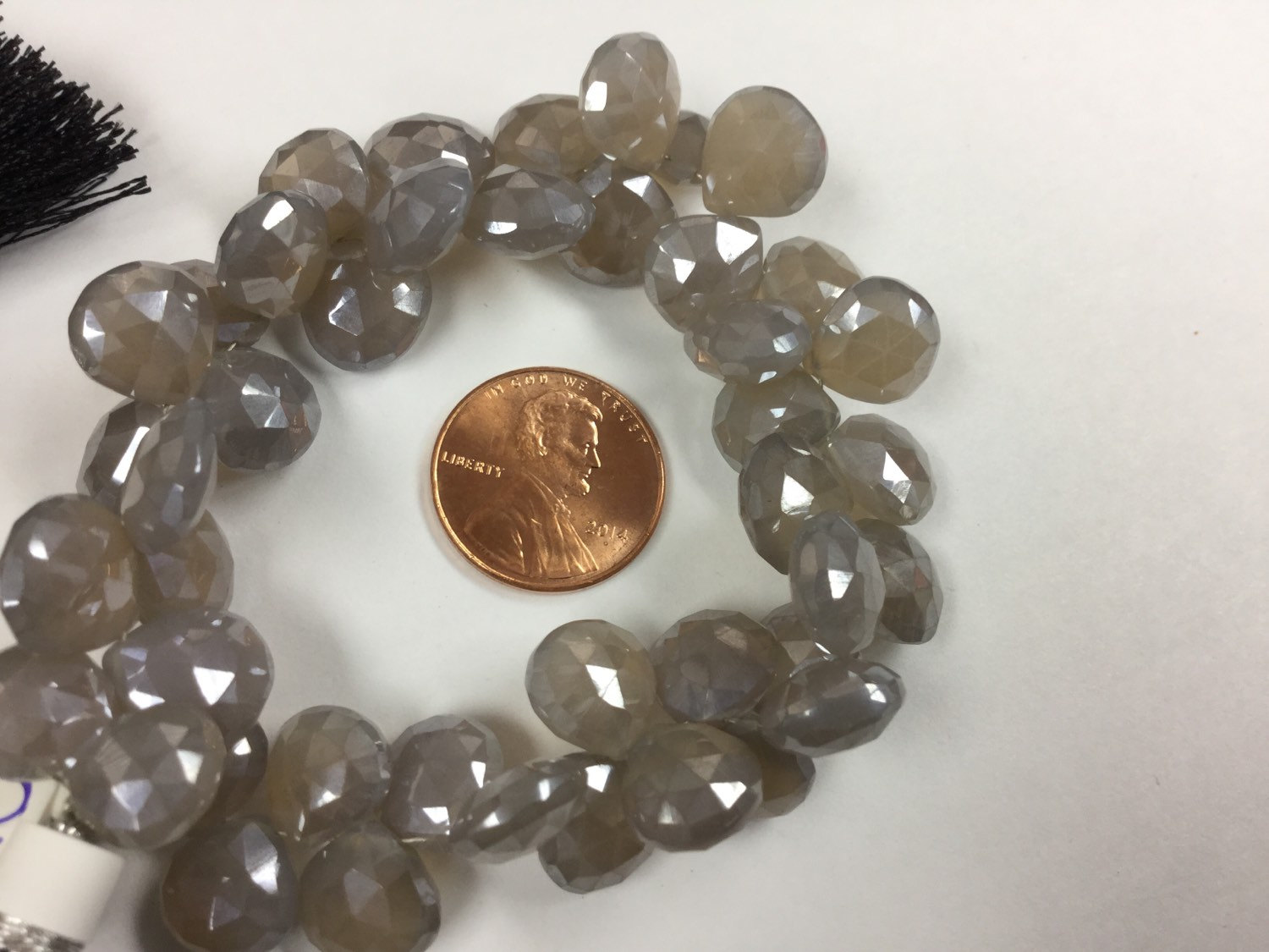 Mystic Gray Moonstone Hearts Faceted