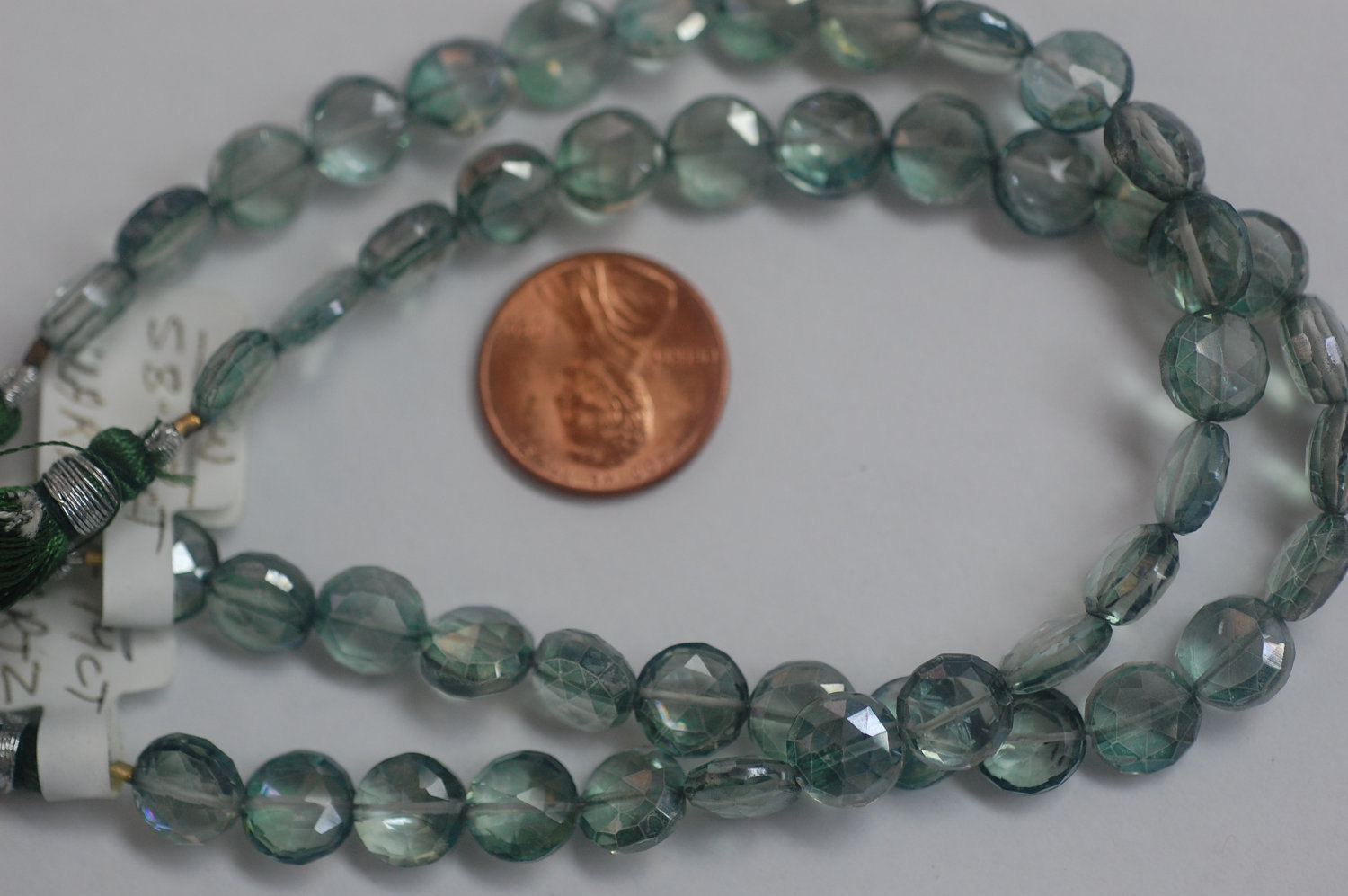 Mystic Green Quartz Coins Faceted