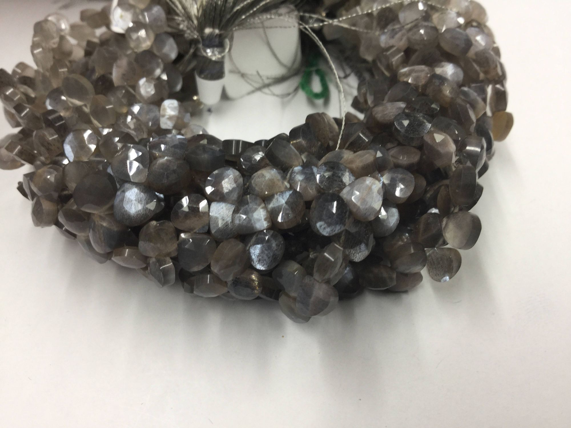 Mystic Grey Moonstone Hearts Faceted