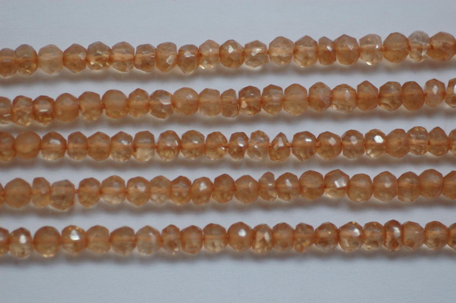 Mystic Peach Quartz Rondelle Faceted
