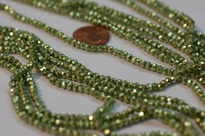 Mystic Pyrite Green Coated Rondelles