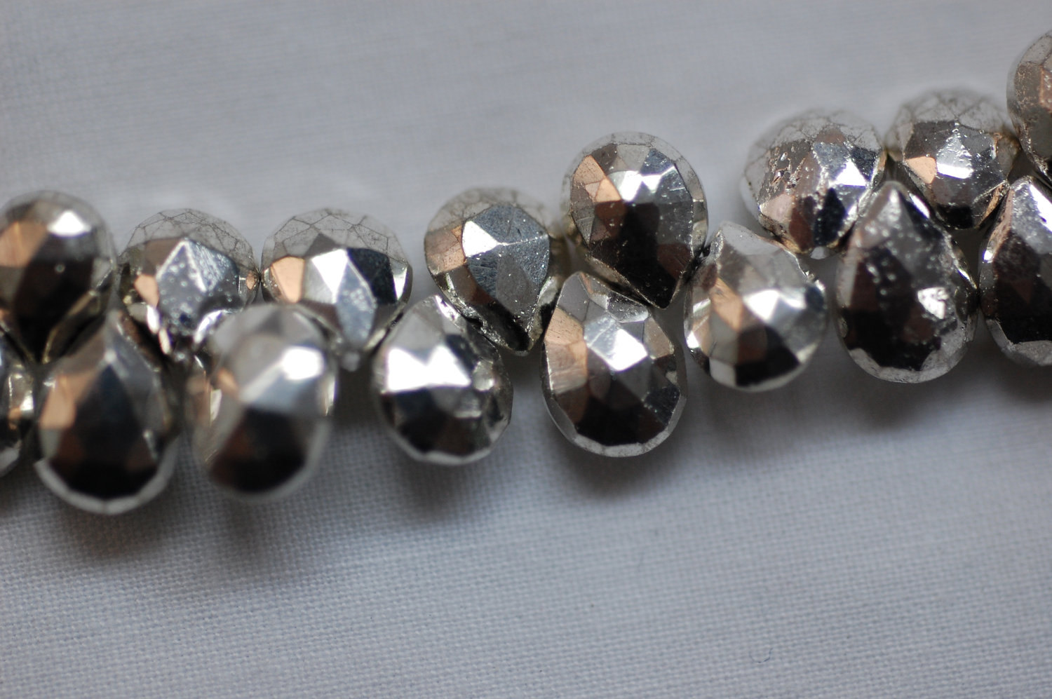 Mystic Pyrite Silver Coated - Pear Shape