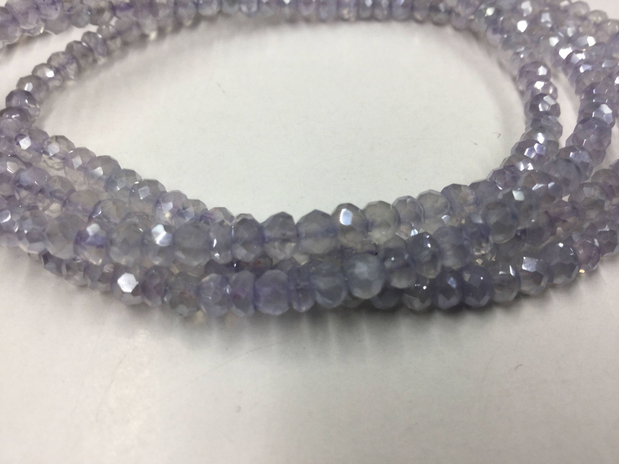lavender Quartz Rondelles Faceted Coated