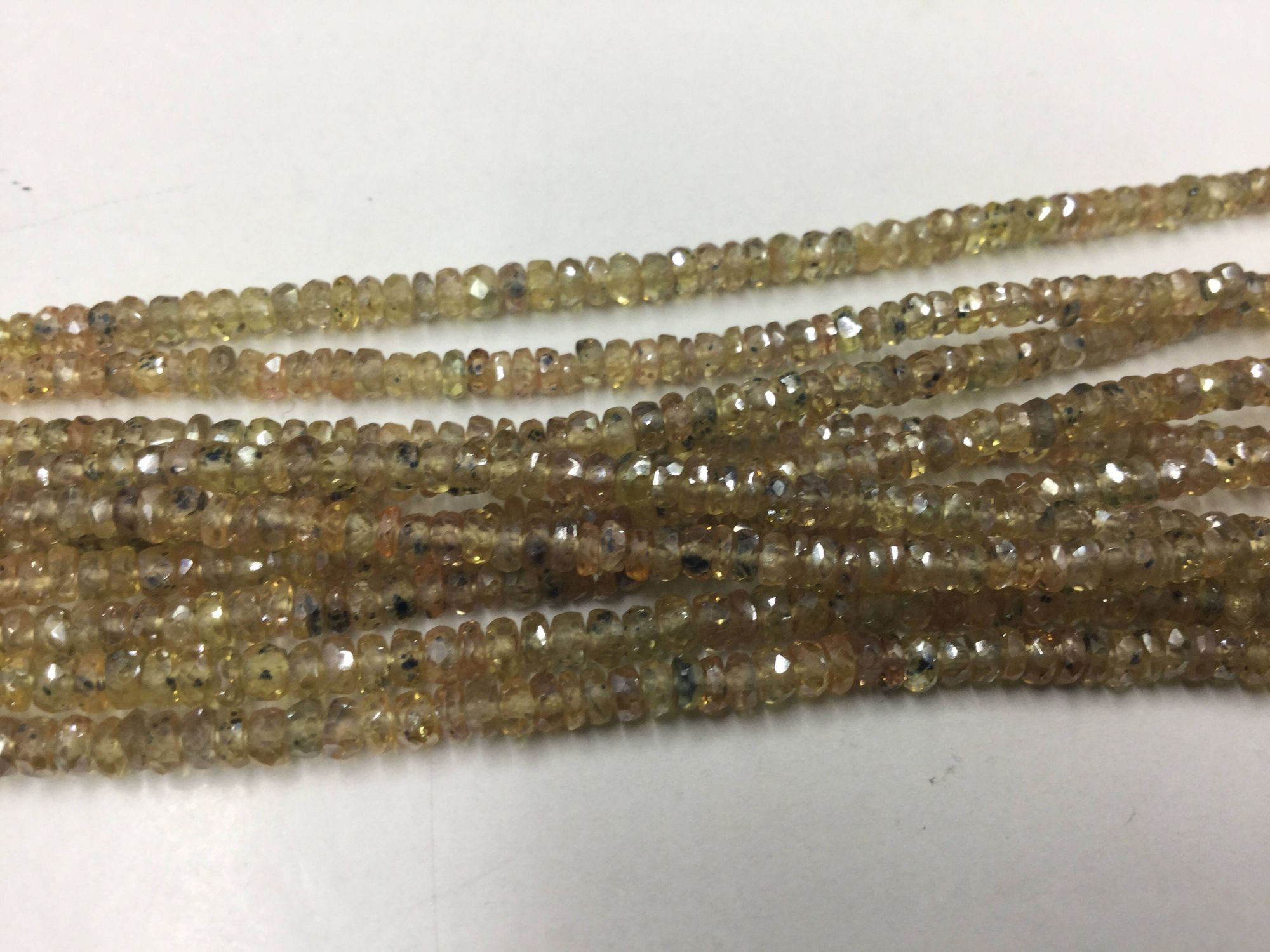 Mystic Yellow Golden Sapphire Rondelles Faceted