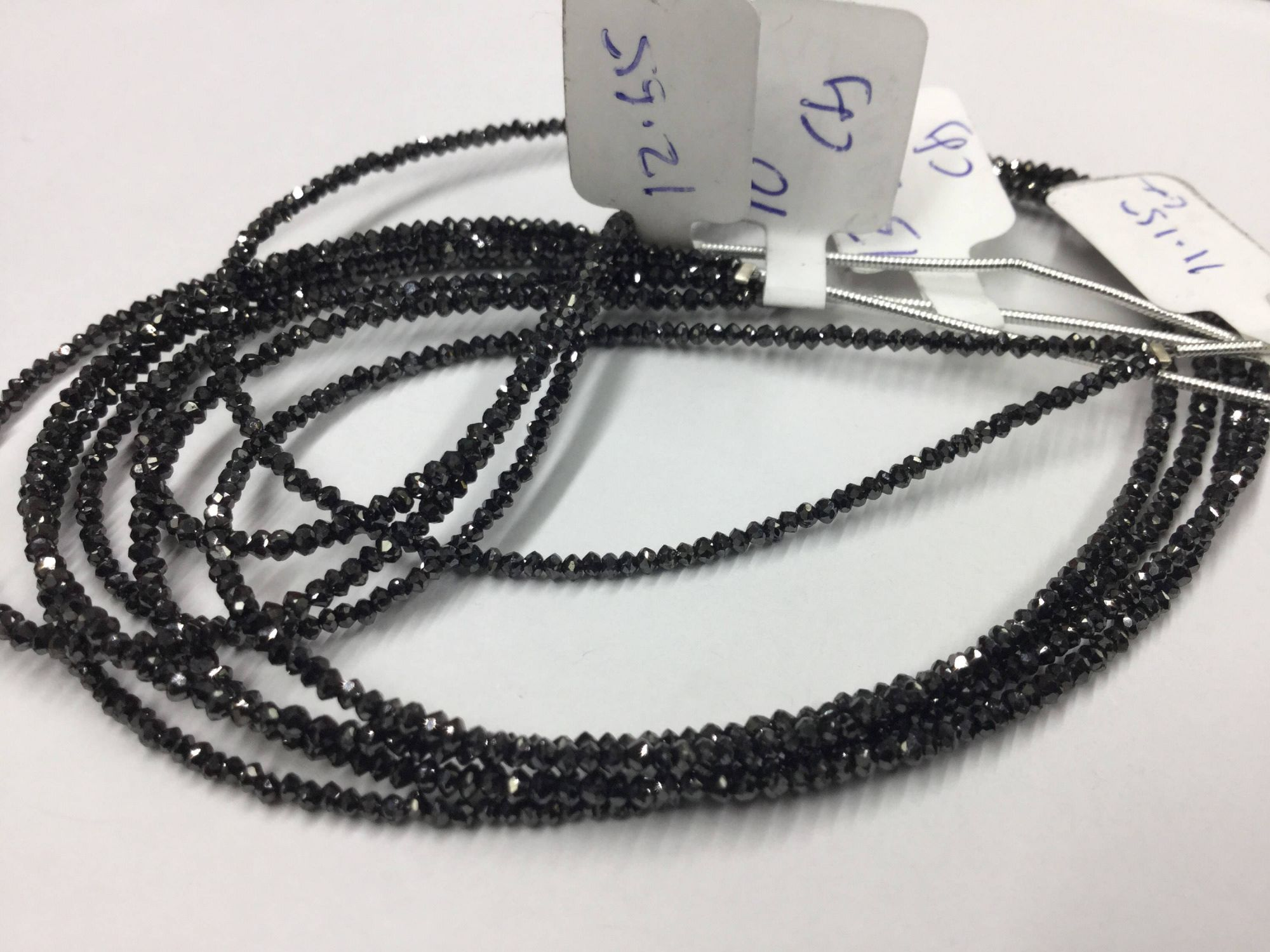 Natural Black Diamonds Rondelles Faceted